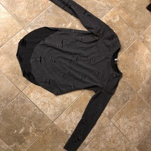 H&M Grey Ripped Long Sleeve Shirt